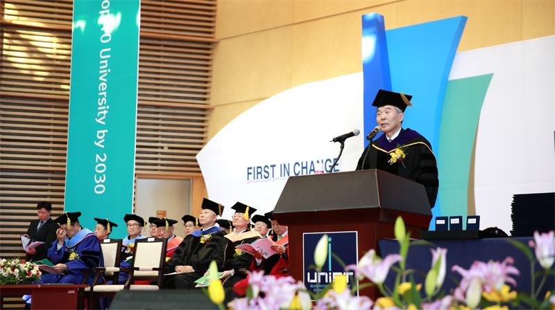 President Moo Je Cho, delievering the commencement address during the graduation ceremony for the UNIST graduating class of 2015.