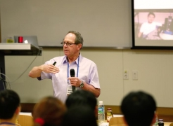Prof. Micheal R. Hoffmann (Cal-Tech), giving a presentation on PV-powered Electrochemical Hydrogen Generation Coupled with Chlorine Production on Mized Metal Oxide Semiconductors at the symposium on June 4, 2015.