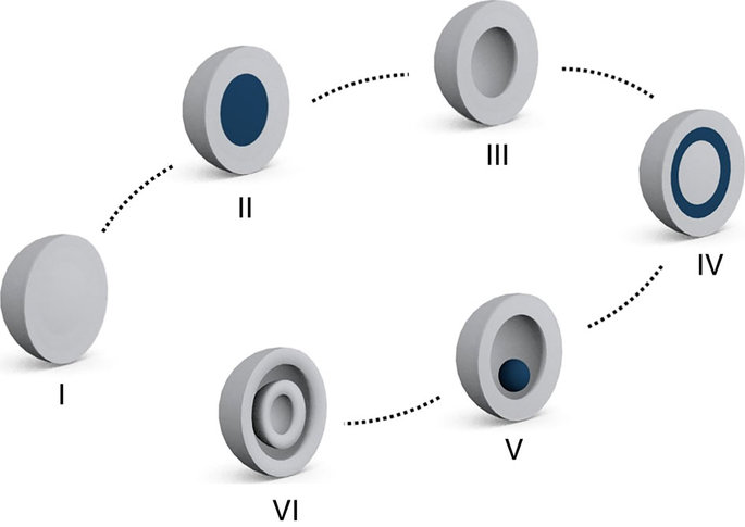 Schematic representation of various forms of micro-/nanostructures. From left are Solid, core-shell, hollow, matryoshka, yolk-shell and multi-shell hollow structures.