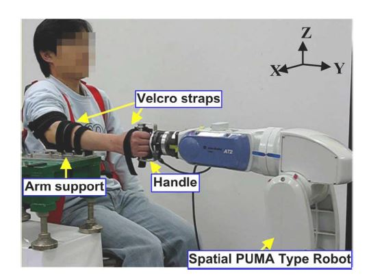 Experimental setup for the estimation of the 3 DOF human forearm and wrist impedance.
