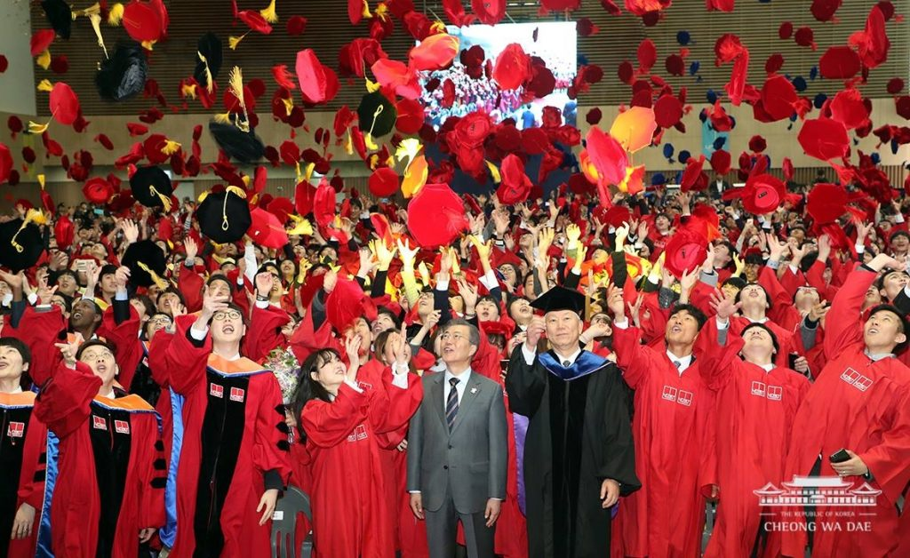 UNIST's Class of 2018 throw their mortarboards in the air to celebrate their graduation. South Korean President Moon Jae-in also visited UNIST to wish them continued success in their education and careers.