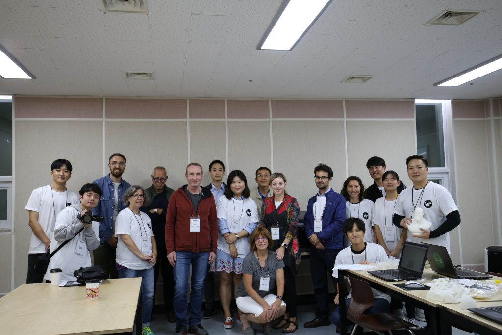 Represented within the photo are teachers from Busan Foreign School and the East Asian Region (China, Philippians, and across Korea), together with industry partners (3DPlus) and UNIST DHE members.