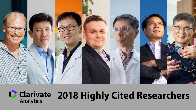 Seven Highly Cited Researchers at UNIST named in Global Highly Cited Researchers 2018 List. From left are Rodney S. Ruoff, Jaephil Cho, Jin Young Kim, Christopher W Bielawski, Kwang Soo Kim, Sang Il Seok, and Jong-Beom Baek. l Photo Credit: Kyoungchae Kim, Ahn Hong Bum