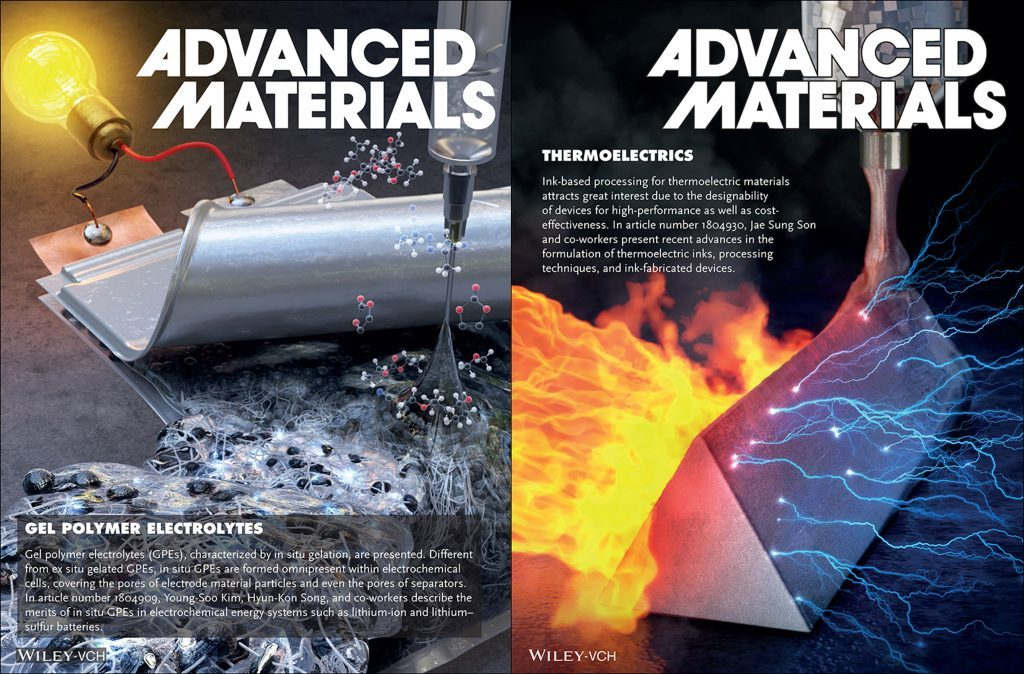 The above images, illustrating gel polymer electrolytes and thermoelectrics have been also highlighted as frontispiece in the journal. | Image Credit: Advanced Materials