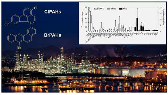 연구그림-염소화-PAHs와-브롬화-PAHs의-화학구조식과-물질별-농도-수준을-나타낸-그래프