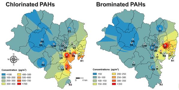 연구그림-울산시-대기-중-염소화-PAHs와-브롬화-PAHs의-지리적-분포