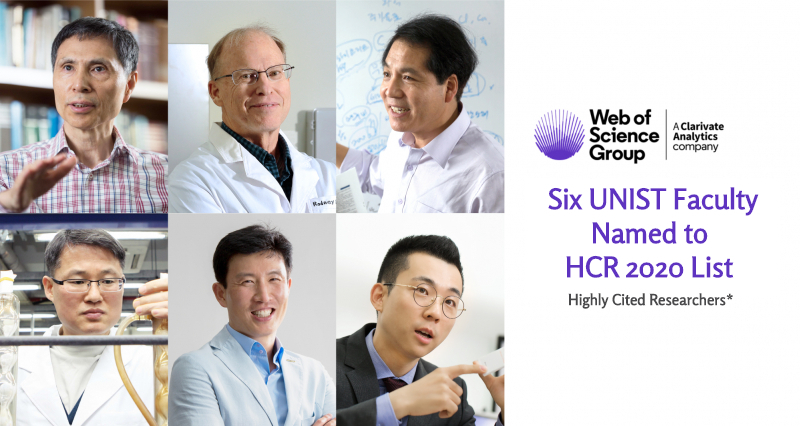Six UNIST Faculty Named to Highly Cited Researchers 2020 List