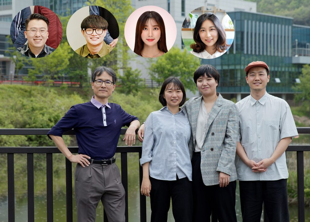 Wave Hat + Wave App Design Team. From left are Professor Kwanmyung Kim, Hyemin Choi, Jiyoung Lee, Professor Hwang Kim, and Soyoon Park (bottom right) from UNIST Department of Design. Dabin Lee and Sangjin Joo also partook in the project.