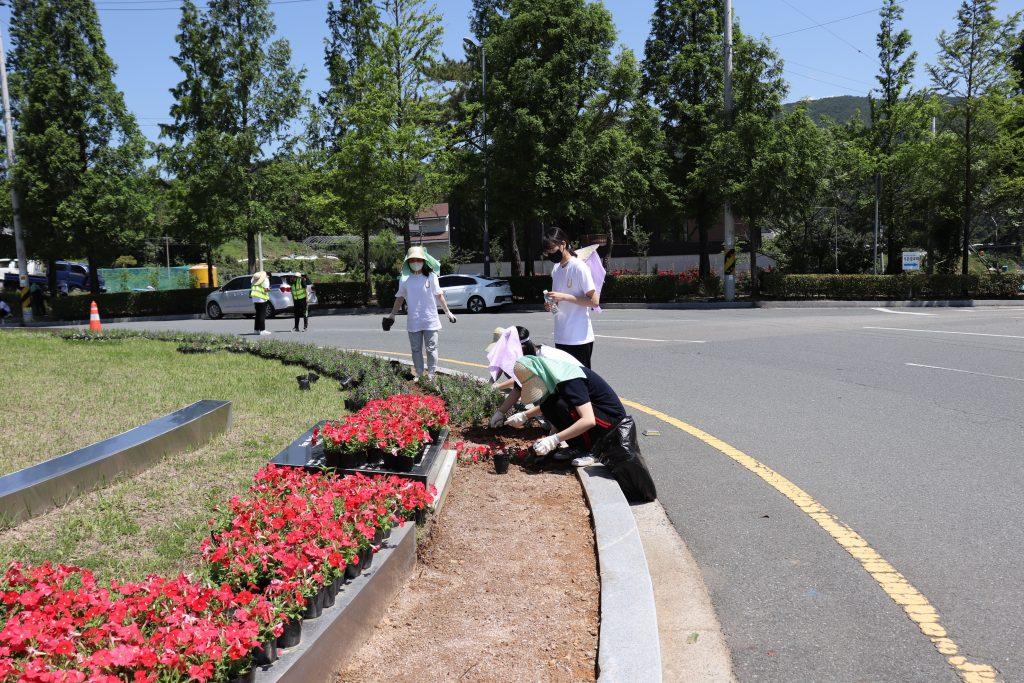 A group of UNIST students gathered at the access road to UNIST to engage in external volunteering activities, as part of the Ulju Industry i4.0 Mentoring program. l Image Credit: UNIST Leadership Center