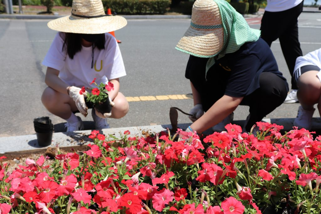 Participants are planting flowers in designated landscaping beds near the symbolic landmark of UNIST. l Image Credit: UNIST Leadership Center