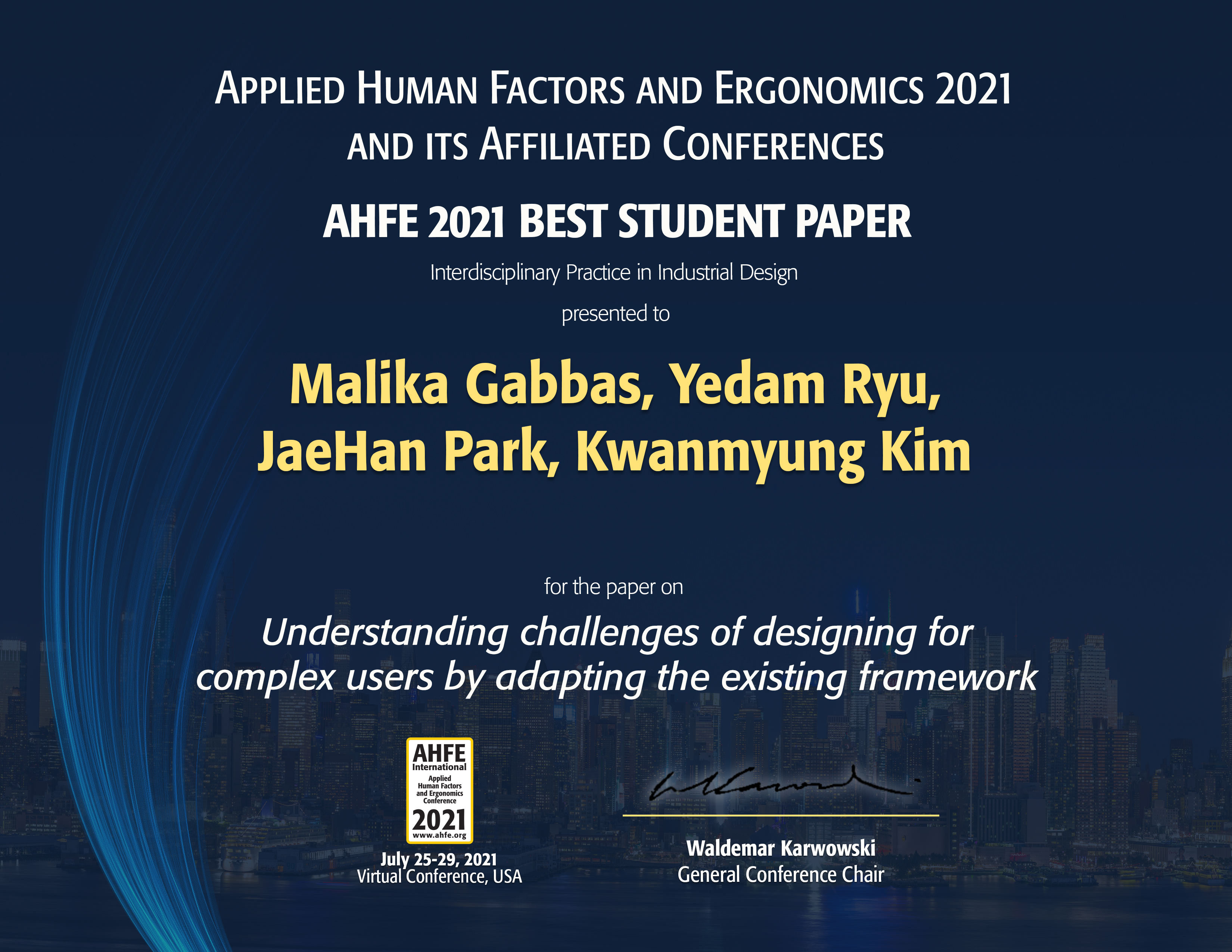 Professor KwanMyung Kim's design team highly commended for excellence at AHFE 2021 International Conference.