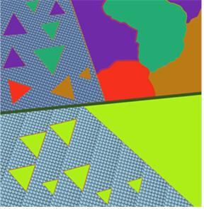 그림3. 기판 표면 모양에 따른 2차원 물질 합성 형태