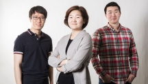 Winners from the 3rd Global Datathon 2015 competition are posing for a group photo. From left are SangWon Chung, SooYeon Chae, and SeungJoon Lee.