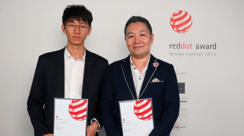 Prof. Yunwoo Jeong (School of Design and Human Engineering) and his student, Seonghyeon Ahn (left) are posing for a portrait after receiving the Red Dot Award: Design Concept 2015. l Photo Credit: Red Dot Design Award