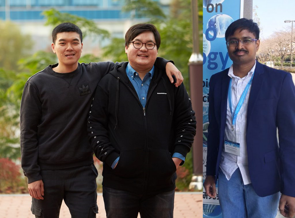 The 1st co-authors of the study. From left are Han Sol Kim, Jun Yong Oh, and Dr. Palanikumar.