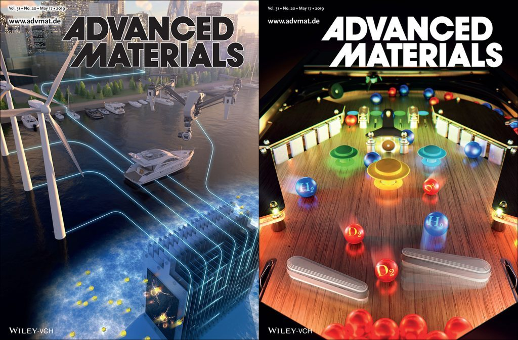 Above images, illustrating seawater batteries and hydrogen-deuterium separation, have been also featured inside the May 17th issue of the journal. | Image Credit: Advanced Materials