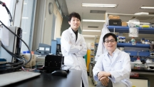 Prof. Byeong-Su Kim (right) and his researcher Kiyoung Jo (left), posing in the lab at UNIST